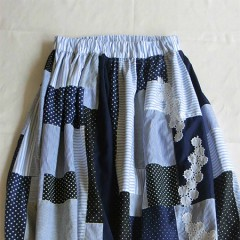 Patchwork dot×stripe SKIRT